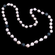 349.7 ct Pearl Diamond 18k Gold 925 Sterling Silver Beads Necklace Jewelry #Handmade #Beaded