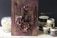 rusted rose mix media canvas
