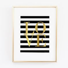 Gold Love with Black and White Striped BG by PennyJaneDesign
