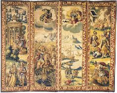 A FOUR LEAF TAPESTRY SCREEN  FLEMISH, 17th CENTURY  mounted with tapestry panels woven in coloured wools with scenes from Virgil's Aenead, incorporating the divine intervention of cloud-borne Apollo and huntress-guised Venus with a red and white scrolling border and blue outerslip--72½ x 90in. (181 x 225cm.) £11,750