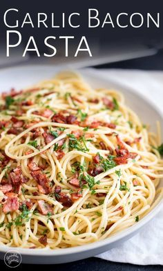 This Easy Garlic Bacon Pasta Recipe is going to be your go-to weeknight meal when you need a quick dinner on the table in just 10 minutes. With just 5 ingredients - pasta, olive oil, garlic, bacon, an Bacon Pasta Recipes, Angel Hair Pasta Recipes, Pastas Recipes, Spaghetti Recipes, Cooking Recipes, Bacon Recipes For Dinner, Quick Pasta Recipes, Pasta With Bacon, Bacon Meals