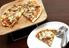 BBQ Pizza - Made this with Safeway pizza dough and leftover pork chops (cut into bite sized pieces) and it was delicious - tasted very similar to CPK's BBQ chicken pizza!  4-4.5 stars!