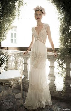Vintage lace scalloped V neck empire waist bohemian wedding dress design idea