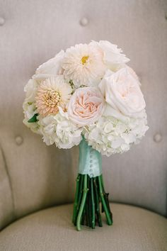 Same-Sex Spring Wedding in Atlanta, Georgia, Grace's Blush and White Bouquet with Dahlias and Hydrangeas | Brides.com