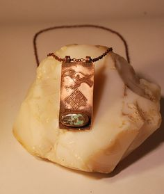 Crow Necklce Turquoise Necklace Bronze talisman by shamanstones