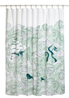 Swell Acquainted Shower Curtain. From bold maritime journeys to epic seafaring novels, theres no nautical notion that youre afraid to conquer! #multi #modcloth