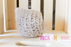 Nude beige mohair pixie bonnet 0 to 3 months by RockNWool on Etsy, $15.00