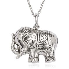 La Preciosa Sterling Silver Oxidized Elephant Pendant ($29) ❤ liked on Polyvore featuring jewelry, pendants, white, sterling silver charms pendants, chain pendants, white pendant, sterling silver jewellery and elephant pendant