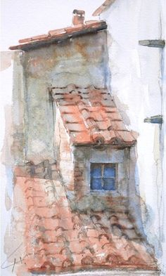 Watercolors in Italy - Stucco and watercolor . Watercolor Sketch, Watercolour Painting, Painting & Drawing, Watercolours, Watercolor Trees, Watercolor Artists, Watercolor Portraits, Watercolor Architecture, Watercolor Landscape