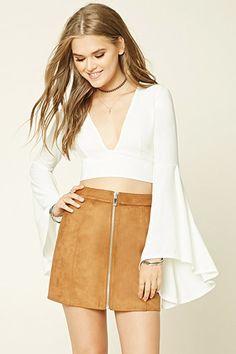 Faux Suede Zip-Front Mini Skirt