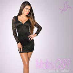 Vestito donna mini abito miniabito aderente tubino party elegante pizzo 5df36c0068e