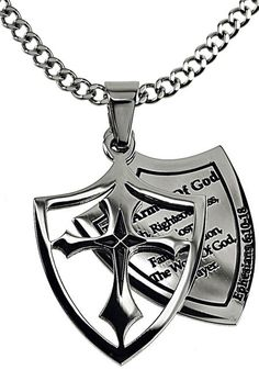 2 Piece Shield Cross Necklace Armor of God Listed Ephesians 6:11 on Up – Celebrate Faith
