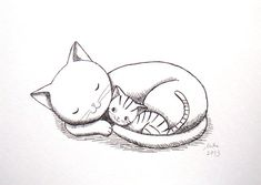 Cat Kitten Ink Drawing Print Mother's Love Illustration by mikaart