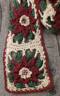 Poinsettia Scarf Crochet Poinsettia Scarf - free crochet pattern MUST MAKE!Crochet Poinsettia Scarf - free crochet pattern MUST MAKE! Crochet Square Patterns, Christmas Crochet Patterns, Crochet Motifs, Holiday Crochet, Crochet Squares, Crochet Granny, Free Crochet, Scarf Patterns, Scarf Crochet
