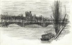 Artwork by Henri Evenepoel, La Seine à Paris, Made of Conté pencil drawing