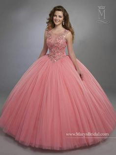 Designer Quinceanera Dresses 2017 Mary's with Illusion Scoop Neck and Basque Waistline Pink Sweet 16 Dress with Zipper Back Custom Made Ball Gown Dresses, 15 Dresses, Fashion Dresses, Girls Dresses, Sweet 16 Dresses, Pretty Dresses, Vestidos Color Coral, Pretty Quinceanera Dresses, Quinceanera Party
