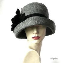 Grey Felted  Hat felt hat Cloche Hat Fapper 1920 Hat Art  Gray