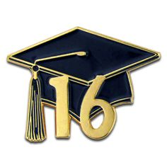 This beautiful graduation cap pin is die struck, gold plated, and is black…