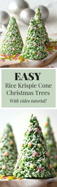 These easy Rice Krispie Cone Christmas Trees are such a fun activity to do with kids this year! Give these as gifts or eat them to yourself, with only 3 ingredients, these could not be easier! (christmas sweets for kids) Cone Christmas Trees, Christmas Sweets, Christmas Cooking, Christmas Goodies, Christmas Holidays, Christmas Crafts, Christmas Decorations, Christmas Sweet Cones, Rice Krispie Christmas Trees