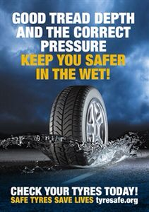 Good tread depth and correct pressures keep you safe in the wet. It's important to check your tyres regularly ~ Tyre Safe