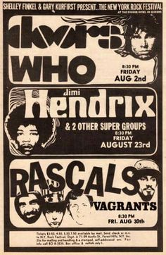 1968 Handbill for the New York Rock Festival — with The Doors, The Who, Jimi Hendrix, The Chambers Brothers, The Rascals & The Vagrants. and the Chambers Brothers. Tour Posters, Band Posters, Mundo Musical, Vintage Concert Posters, Rock Festivals, Woodstock, Vintage Rock, Rock Concert, Rock Music
