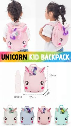 Fantastic little backpack, perfect to fit your kids' essentials in as lunch box, snacks, nappy, wipes, fruit, water bottle, etc. This unicorn backpack is perfect for girls aged from 2-6. Ideal for outdoor activities such as going to the zoo, garden, camping, etc. Ideal gift for girls! Little Backpacks, Kids Backpacks, Unicorn Kids, Cute Unicorn, Fruit Water, School Bags For Kids, 3d Cartoon, Toy Boxes, Gifts For Girls