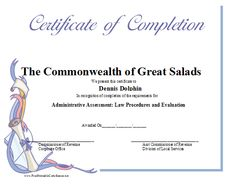 This certificate of completion is illustrated with a rolled-up scroll and ribbons in pastel tones. Free to download and print