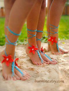 Coral and Aqua Starfish Seashells Crochet Barefoot by barmine