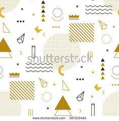 Geometric gold pattern for fashion and wallpaper. Memphis style for fashion. - stock vector
