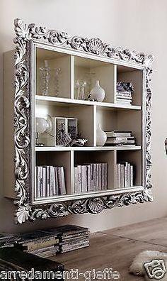 LIBRERIA VOGUE LACCATA CORNICE IN FOGLIA ORO/ARGENTO.xSOGGIORNO DIVANO SOFA' in Casa, arredamento e bricolage, Arredamento, Librerie e scaffali | eBay