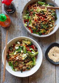 Cajun Shrimp and Sausage Vegetable Skillet A Food, Food And Drink, Asian Recipes, Ethnic Recipes, Cajun Shrimp, Noodle Bowls, Recipe Boards, Eating Well, Japchae