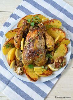 servire pui la cuptor cu cartofi usturoi si ierburi mediteraneene Top Recipes, Turkey Recipes, Beef Recipes, Kraut, Food Videos, Poultry, Feta, Lamb, Pork