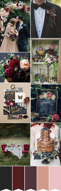 Paleta e decoração de casamento - marsala