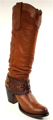 Cuadra Womens Genuine Leather Western Fashion Boot With Leather Embroidery Strap