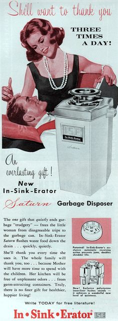 3 times a day for a garbage disposal ~ Vintage Sexist Ad (yes, that's all it takes loser)