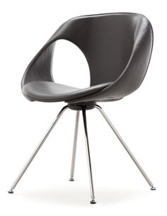 Up 907.21 - Side chair in leather upholstery. Steel legs in polished or matt chrome finish.