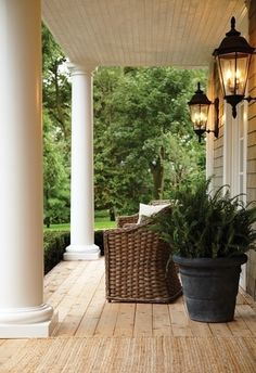 Front Porch lanterns | potted ferns, chair, lanterns | Front Door/Front Porch