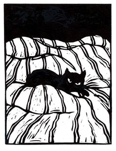 A black cat on a striped bedspread. Don't disturb his rest! Catnap Linoleum block print Edition of 50 Signed and numbered Image size x Paper size approx. x The print will be shipped in a protective sleeve with a sturdy backing. Postage is free in the US. Linocut Prints, Art Prints, Block Prints, Lino Art, Linoleum Block Printing, Black Cat Art, Black Cats, Linoprint, Cat Drawing