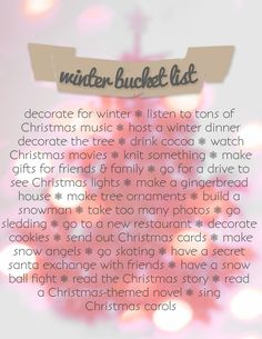 Also: kiss under the mistletoe, donate/volunteer, random act of kindness, xmas parade, xmas eve box. Going to do a Christmas bucket list! Christmas Music, Christmas Love, Winter Christmas, All Things Christmas, Merry Christmas, Memo Boards, December Daily, Christmas Activities, Christmas Traditions
