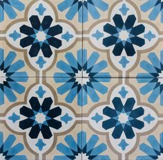 Encaustic Tiles -- Zafra Pattern Cement Floor Tiles (selling per sqm) in Home & Garden, Building Materials & DIY, Flooring & Tiles Floor Patterns, Tile Patterns, Flower Reproduction, Colonial Home Decor, Decopage, Spanish Style Homes, Spanish Colonial, Encaustic Tile, Mediterranean Home Decor