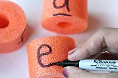 The Educators' Spin On It: Make a Pool Noodle Alphabet Basket for Learning Letters Noodles Games, Pool Noodle Games, Pool Noodles, Preschool Letter Sound Activities, Toddler Activities, Literacy Activities, Teaching The Alphabet, Learning Letters, Teaching Letter Recognition