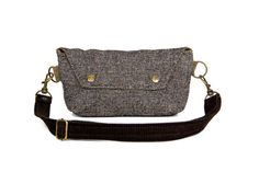 Hip Bag - Fanny Pack - Traveler Bag in Brown Beige Black Tweed and Corduroy - Ready to Ship on Etsy, $52.00