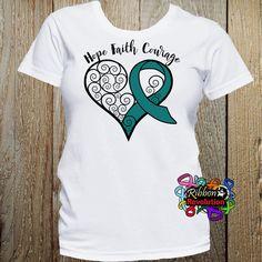 Teal Ribbon Hope Faith Courage Heart Ribbon by RibbonRevolution