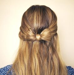 25 Gorgeous Half-Up, Half-Down Hairstyles.  Half Up Hair Bow    A pretty bow is a super pretty and girly style that would be great for any summer event.  Get the tutorial on New Trend Whore.
