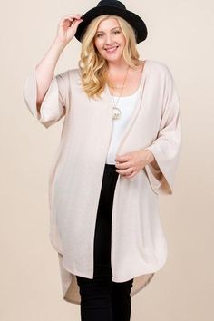 Made In U.S.A 1XL.2XL.3XL Plus Size Solid Hacci Brush Open Front Long Cardigan with Bell Sleeves 74% Rayon 22% Polyester 4% Spandex Beige EME Plus Size Solid Hacci Brush Open Front Long Cardigan With Bell Sleeves Plus Size Cardigans, Plus Size Tops, Beige Cardigan, Long Cardigan, Cardigan Fashion, Spandex, Plus Size Outfits, Plus Size Fashion, Bell Sleeves