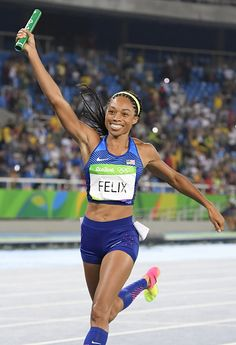 Allyson Felix of the United States celebrates the victory of her team as she…