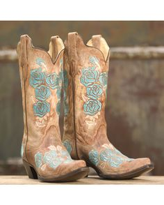 Corral Women's Cognac/Turquoise Roses Embroidery Boot - R1172 http://www.countryoutfitter.com/products/36478?lhs=u_p_p_n_a&lhb=co&lhc=womens_boots&lhg=corral&utm_source=pinterest&utm_medium=social