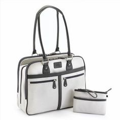 Laptop Case with Matching Clutch. This versatile tote functions well as a briefcase, laptop bag, purse and a travel bag and accommodates laptops up to 16″. Crafted from durable Vegan-leather with contrasting trim, polished nickel fittings and a Tartan cotton-twill lining.