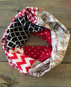 Red Black and White Baseball Infinity Scarf by KutKloth on Etsy