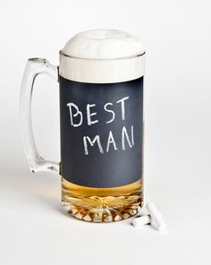 Chalkboard Beer Mug  a unique groomsmen gift by themanregistry, $15.00 or just go to the dollar store and get a mug and make diy chalk paint!!